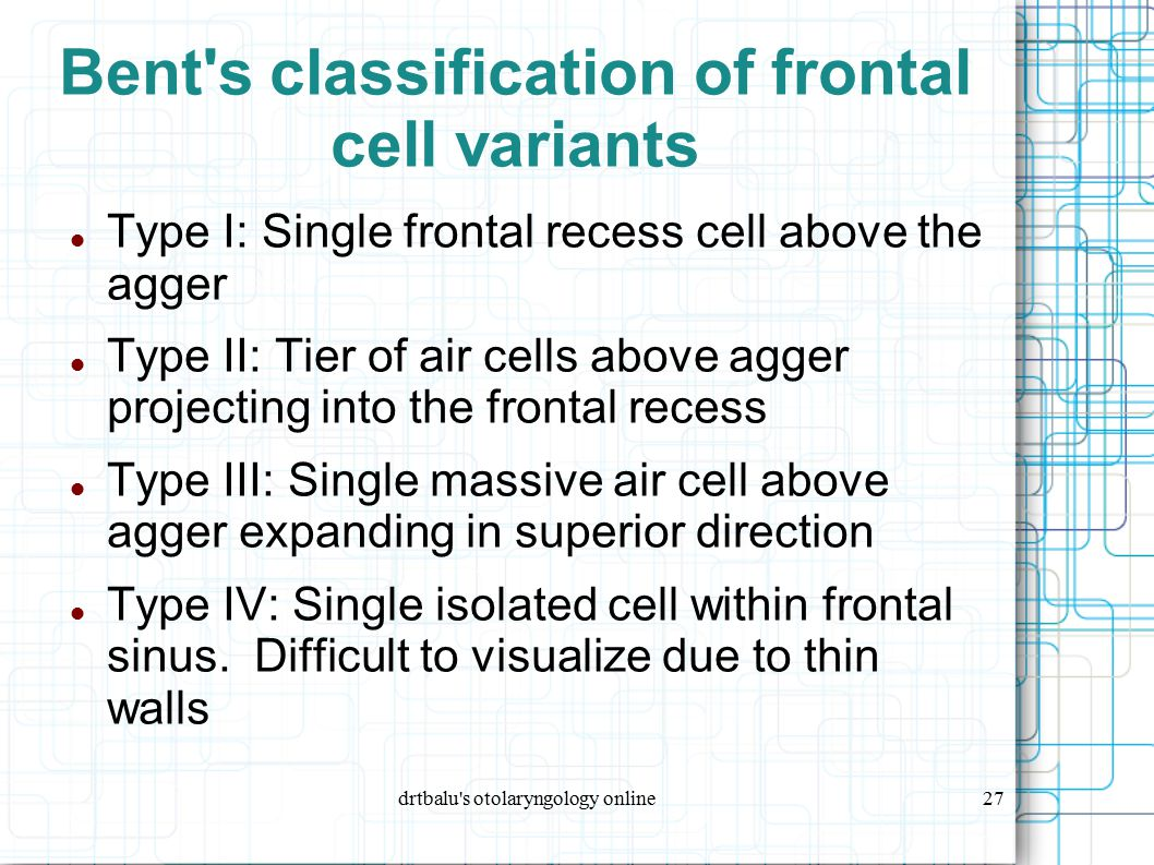 drtbalu's otolaryngology online27 Bent's classification of frontal cell variants Type I: Single frontal recess cell above the agger Type II: Tier of a