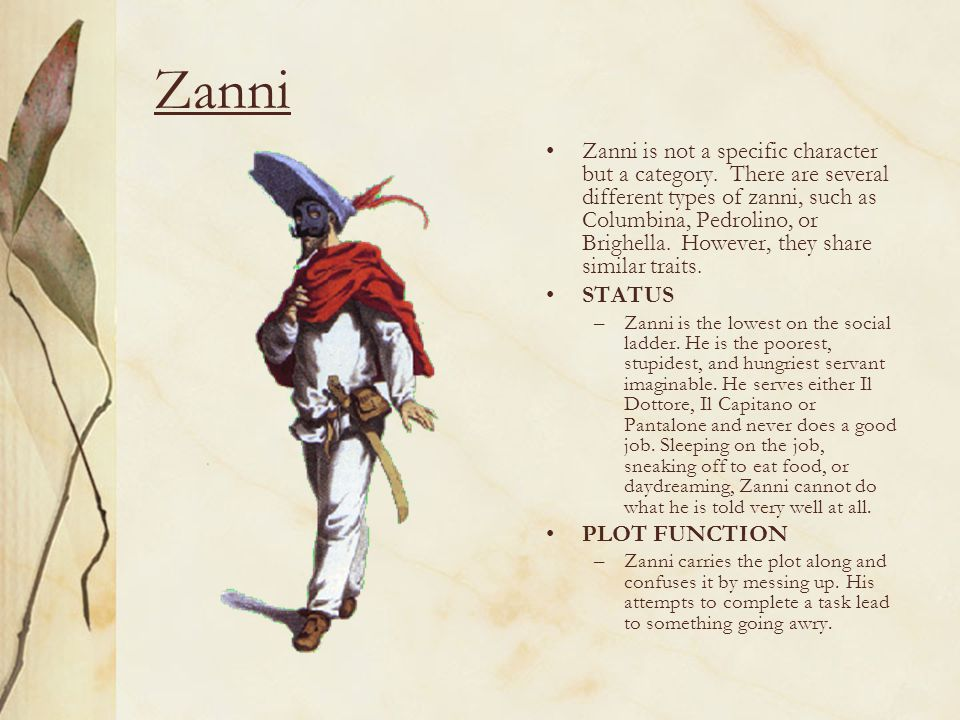 Zanni Zanni is not a specific character but a category.