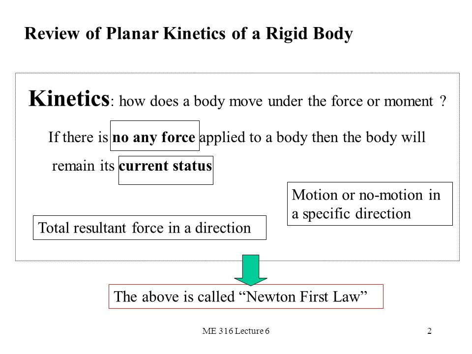 ME 316 Lecture 62 Review of Planar Kinetics of a Rigid Body Kinetics : how does a body move under the force or moment ? If there is no any force appli