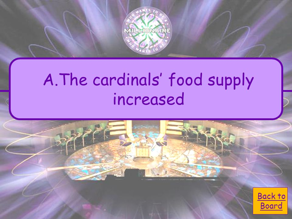 A.The cardinals' food supplyThe cardinals' food supply increased C.