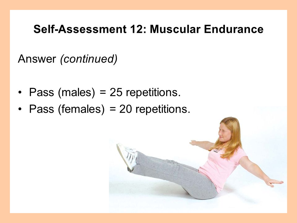 Self-Assessment 12: Muscular Endurance Answer (continued) Safety Tip: Avoid arching your lower back repetitively to avoid straining or pulling the muscles in that area.