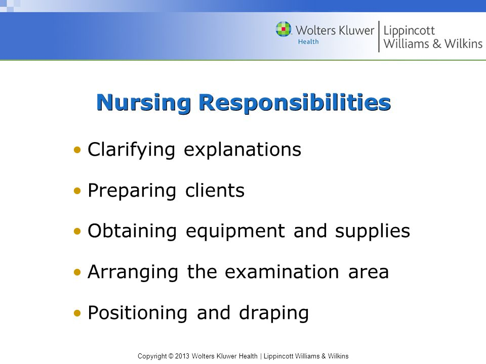 Copyright © 2013 Wolters Kluwer Health | Lippincott Williams & Wilkins Nursing Responsibilities (cont'd) Assisting the examiner Providing physical and emotional support Attending to the client Caring for specimens Recording and reporting data
