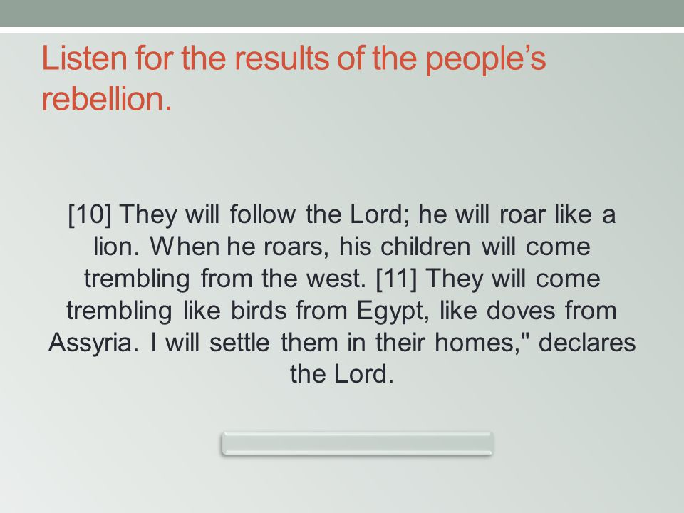 Listen for the results of the people's rebellion. [10] They will follow the Lord; he will roar like a lion. When he roars, his children will come trem