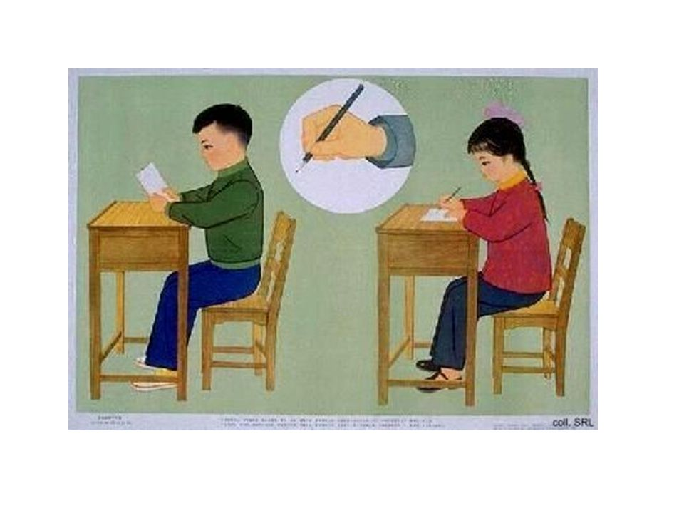 If the child continues to have difficulty sitting upright in the chair when the desk and chair height are appropriate, encourage the child to rest his/her forearms on the desk during cutting, writing, drawing, coloring and other fine motor tasks.