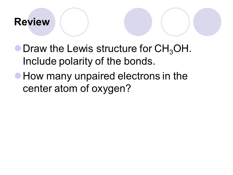 Review Draw the Lewis structure for CH 3 OH.Include polarity of the bonds.