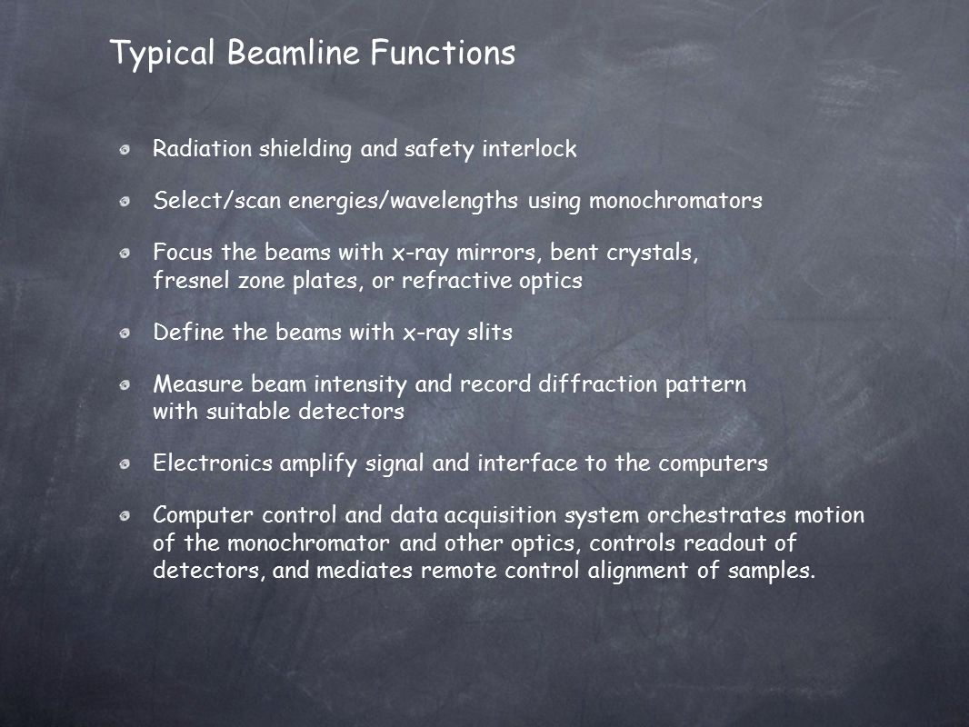 Typical Beamline Functions Radiation shielding and safety interlock Select/scan energies/wavelengths using monochromators Focus the beams with x-ray m