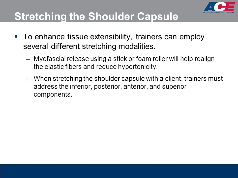 Stretching the Shoulder Capsule  To enhance tissue extensibility, trainers can employ several different stretching modalities. –Myofascial release us