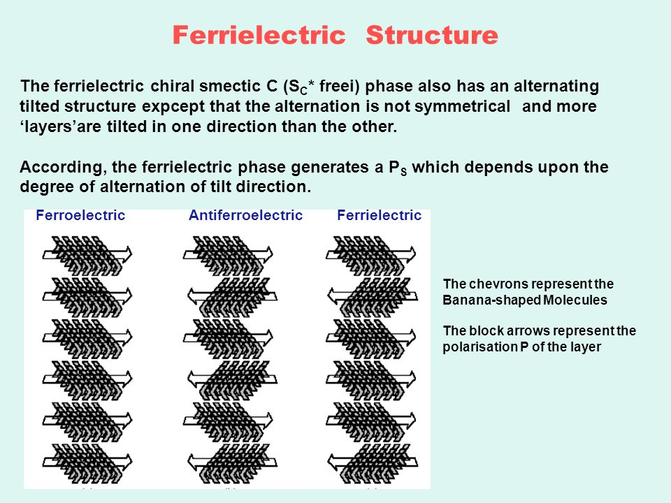 Ferrielectric Structure The ferrielectric chiral smectic C (S C * freei) phase also has an alternating tilted structure expcept that the alternation is not symmetrical and more 'layers'are tilted in one direction than the other.
