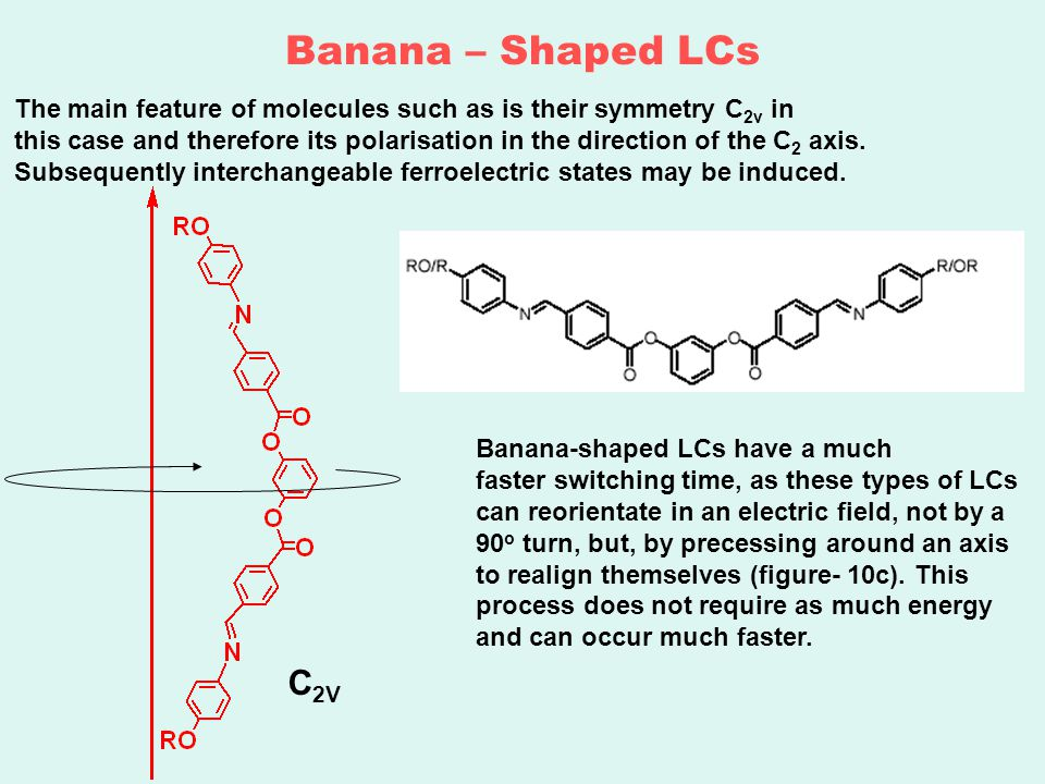 Banana – Shaped LCs The main feature of molecules such as is their symmetry C 2v in this case and therefore its polarisation in the direction of the C 2 axis.