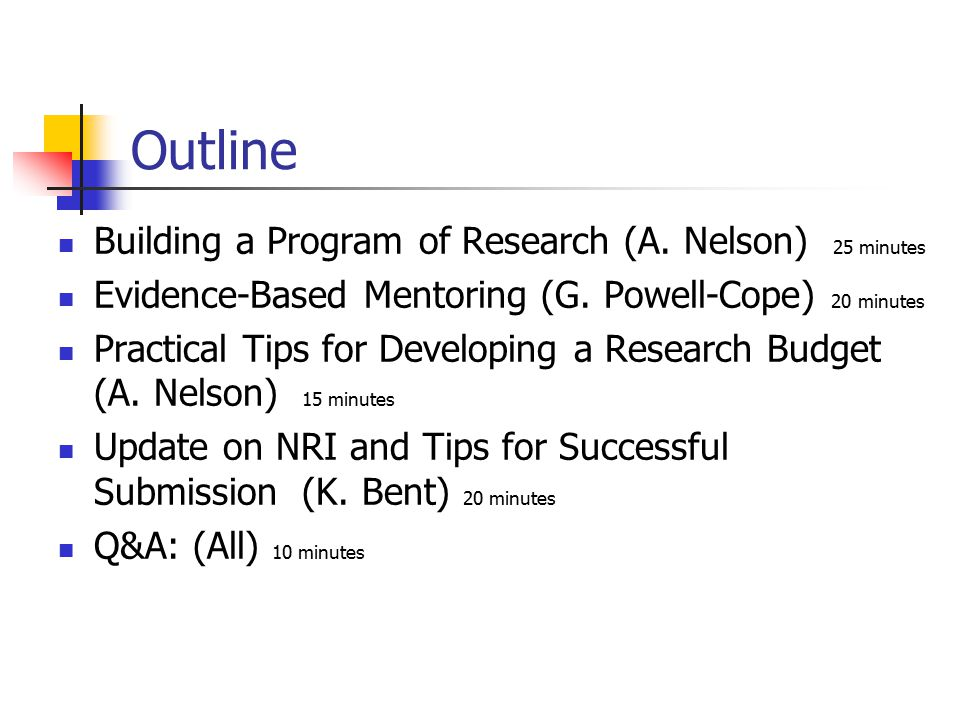Outline Building a Program of Research (A. Nelson) 25 minutes Evidence-Based Mentoring (G.