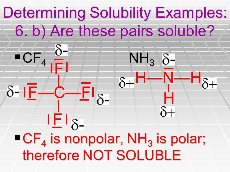 Determining Solubility Examples: 6. b) Are these pairs soluble.