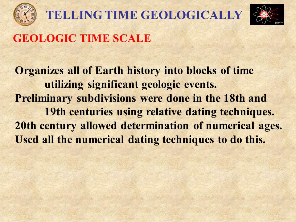 TELLING TIME GEOLOGICALLY GEOLOGIC TIME SCALE Subdivisions of Time Eons Eras Periods Epochs None last equal intervals of time.