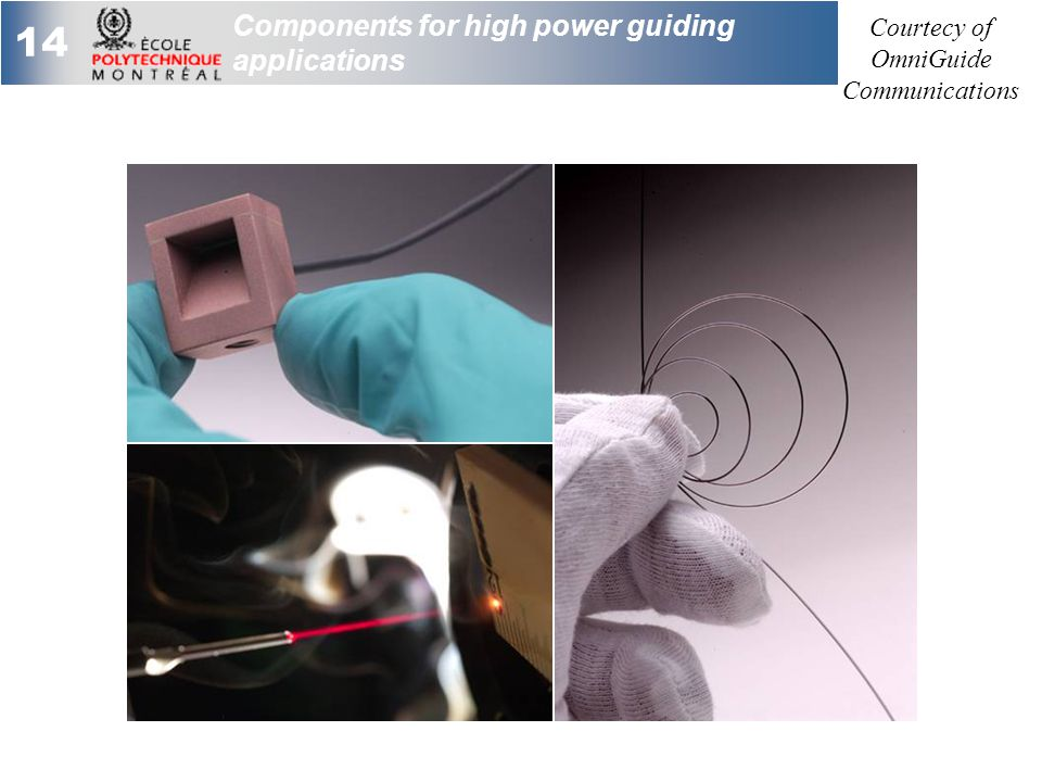 14 Components for high power guiding applications Courtecy of OmniGuide Communications