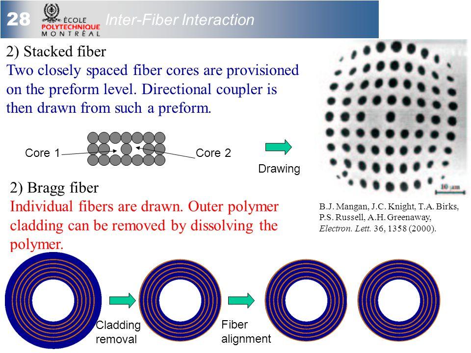 28 Inter-Fiber Interaction 2) Bragg fiber Individual fibers are drawn.