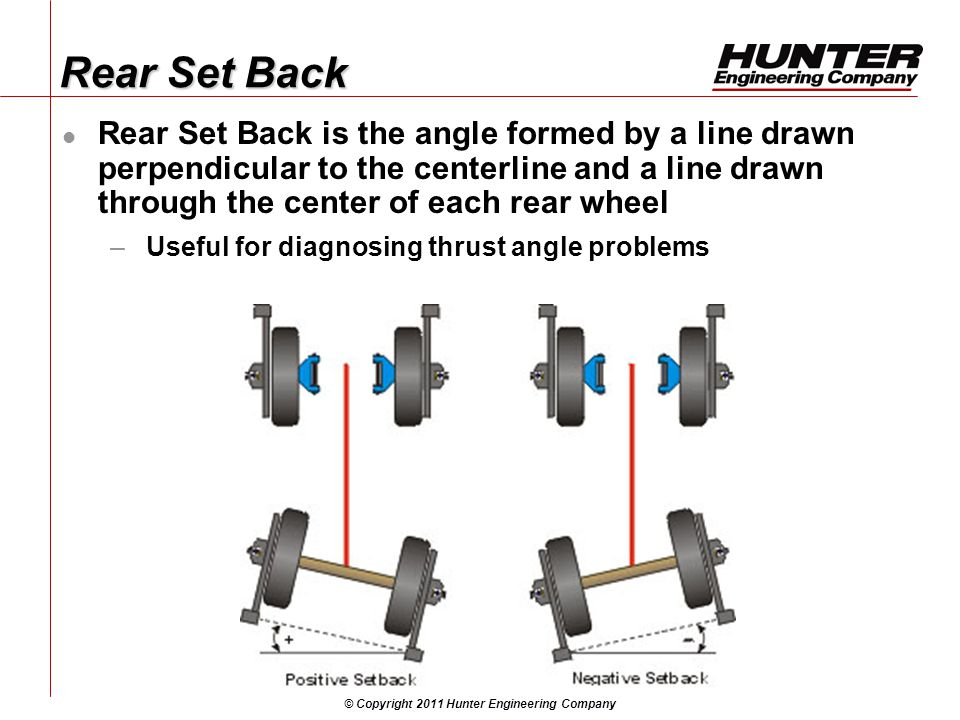 © Copyright 2011 Hunter Engineering Company Rear Set Back Rear Set Back is the angle formed by a line drawn perpendicular to the centerline and a line drawn through the center of each rear wheel –Useful for diagnosing thrust angle problems