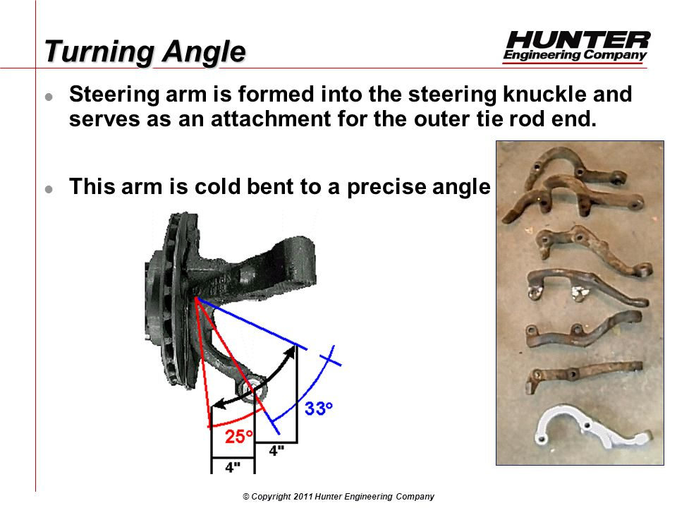 © Copyright 2011 Hunter Engineering Company Turning Angle Steering arm is formed into the steering knuckle and serves as an attachment for the outer tie rod end.