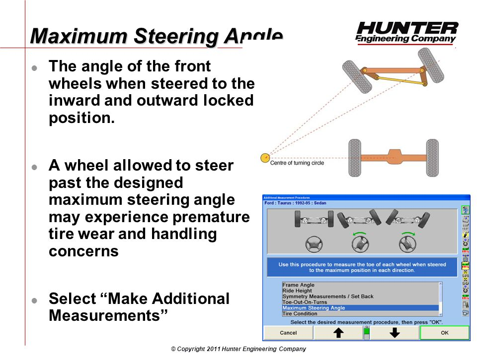 © Copyright 2011 Hunter Engineering Company Maximum Steering Angle The angle of the front wheels when steered to the inward and outward locked position.