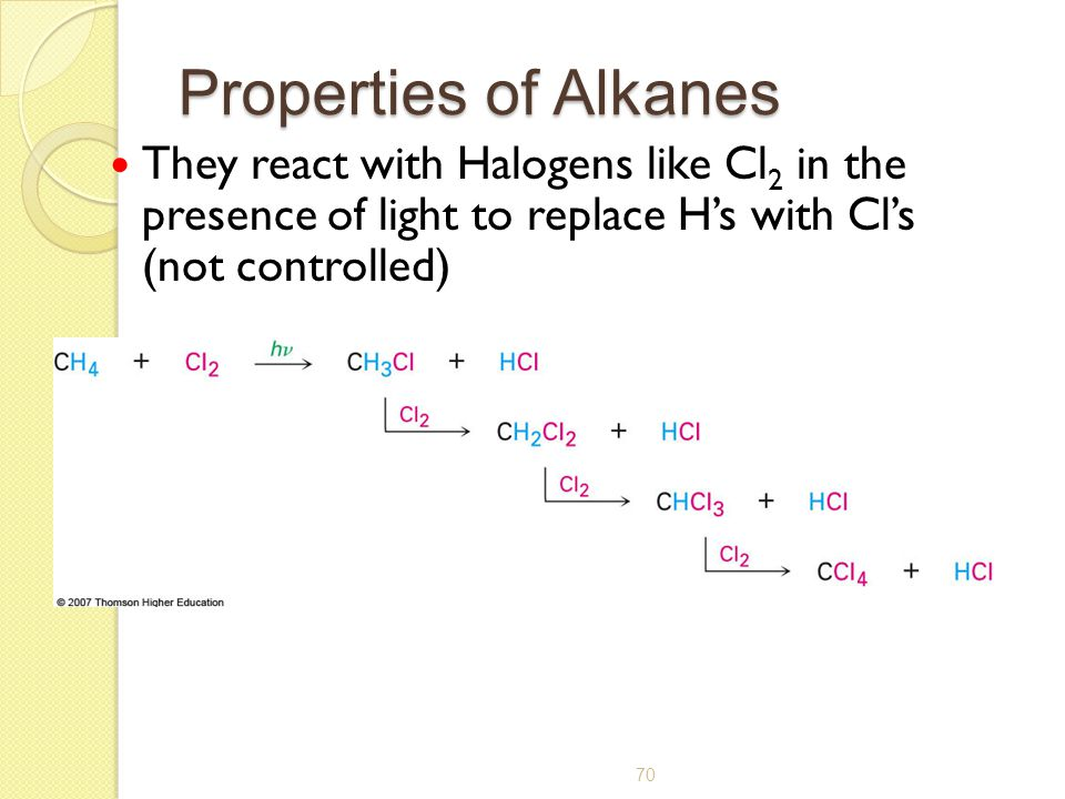 70 Properties of Alkanes They react with Halogens like Cl 2 in the presence of light to replace H's with Cl's (not controlled)