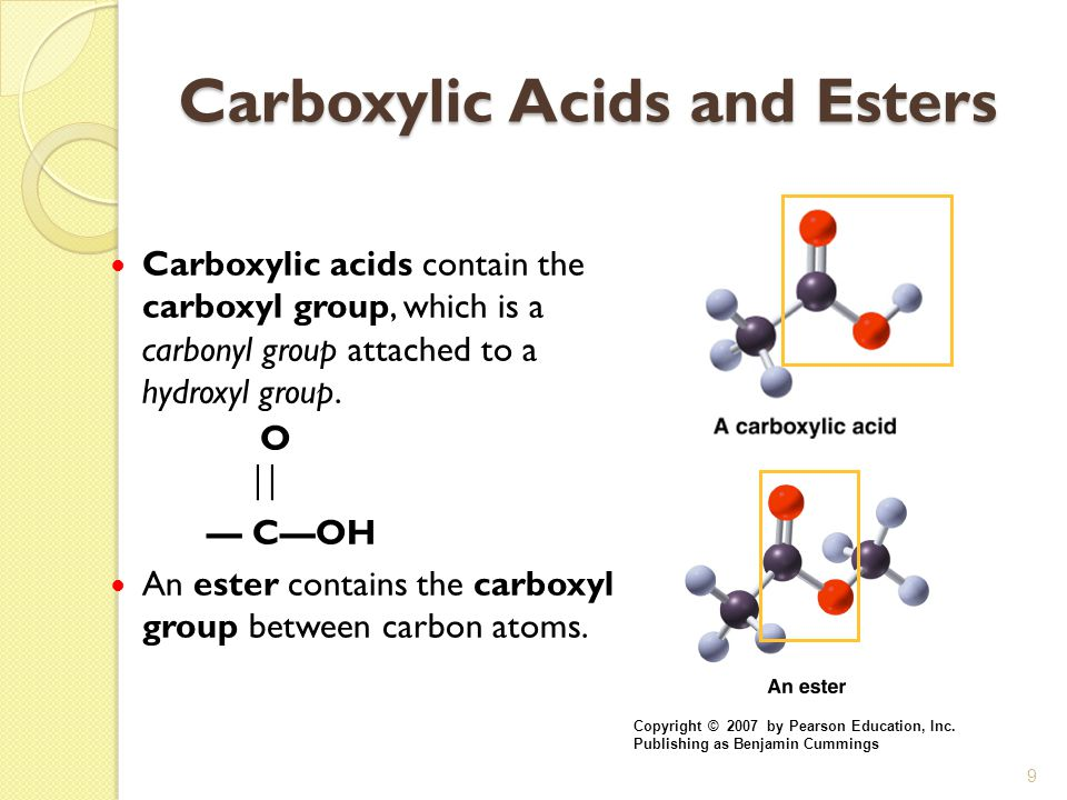 9 Carboxylic Acids and Esters Carboxylic acids contain the carboxyl group, which is a carbonyl group attached to a hydroxyl group. O  — C—OH An este