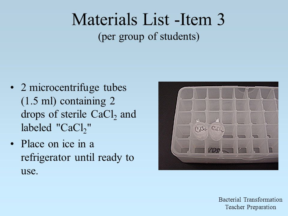 Materials List -Item 3 (per group of students) 2 microcentrifuge tubes (1.5 ml) containing 2 drops of sterile CaCl 2 and labeled CaCl 2 Place on ice in a refrigerator until ready to use.