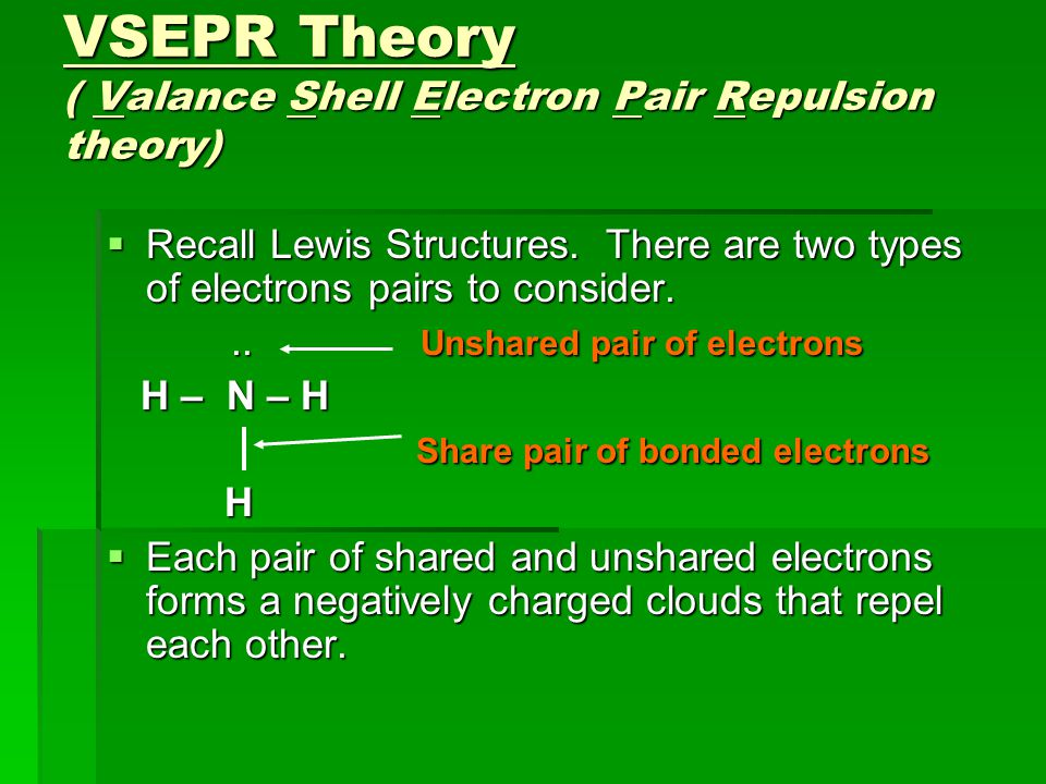 VSEPR Theory ( Valance Shell Electron Pair Repulsion theory)  Recall Lewis Structures.