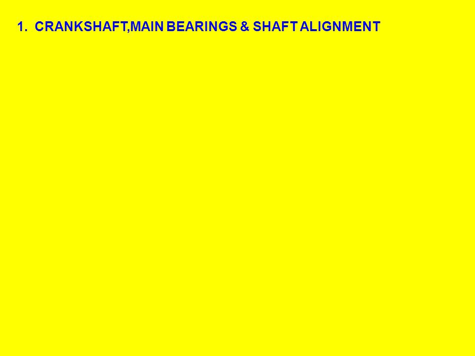 1.CRANKSHAFT,MAIN BEARINGS & SHAFT ALIGNMENT