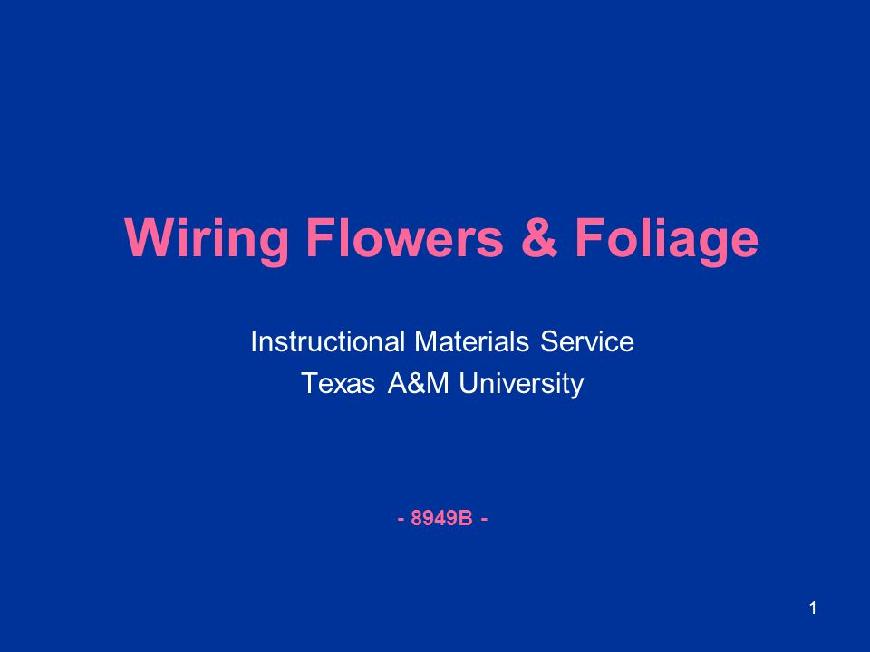 1 Wiring Flowers & Foliage Instructional Materials Service Texas A&M University - 8949B -