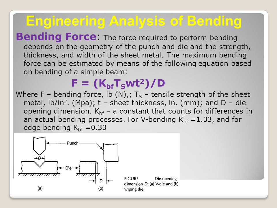 Bending Force: The force required to perform bending depends on the geometry of the punch and die and the strength, thickness, and width of the sheet