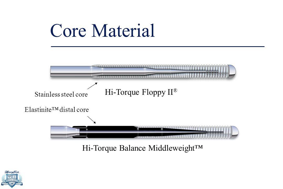 Core Material Hi-Torque Floppy II ® Elastinite™ distal core Hi-Torque Balance Middleweight™ Stainless steel core