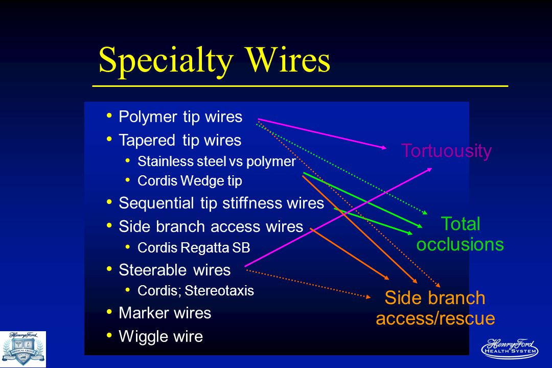 Specialty Wires Polymer tip wires Tapered tip wires Stainless steel vs polymer Cordis Wedge tip Sequential tip stiffness wires Side branch access wires Cordis Regatta SB Steerable wires Cordis; Stereotaxis Marker wires Wiggle wire Tortuousity Total occlusions Side branch access/rescue