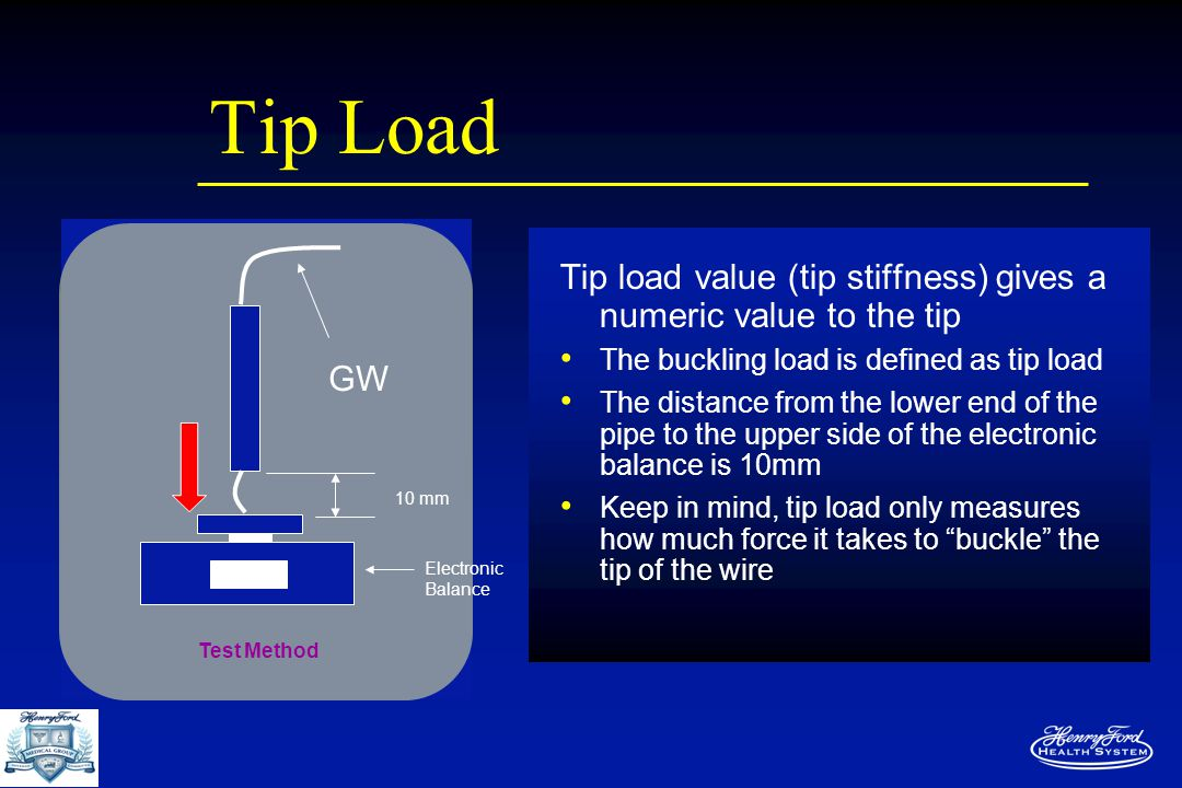 Tip Load Tip load value (tip stiffness) gives a numeric value to the tip The buckling load is defined as tip load The distance from the lower end of the pipe to the upper side of the electronic balance is 10mm Keep in mind, tip load only measures how much force it takes to buckle the tip of the wire Test Method GW Electronic Balance 10 mm