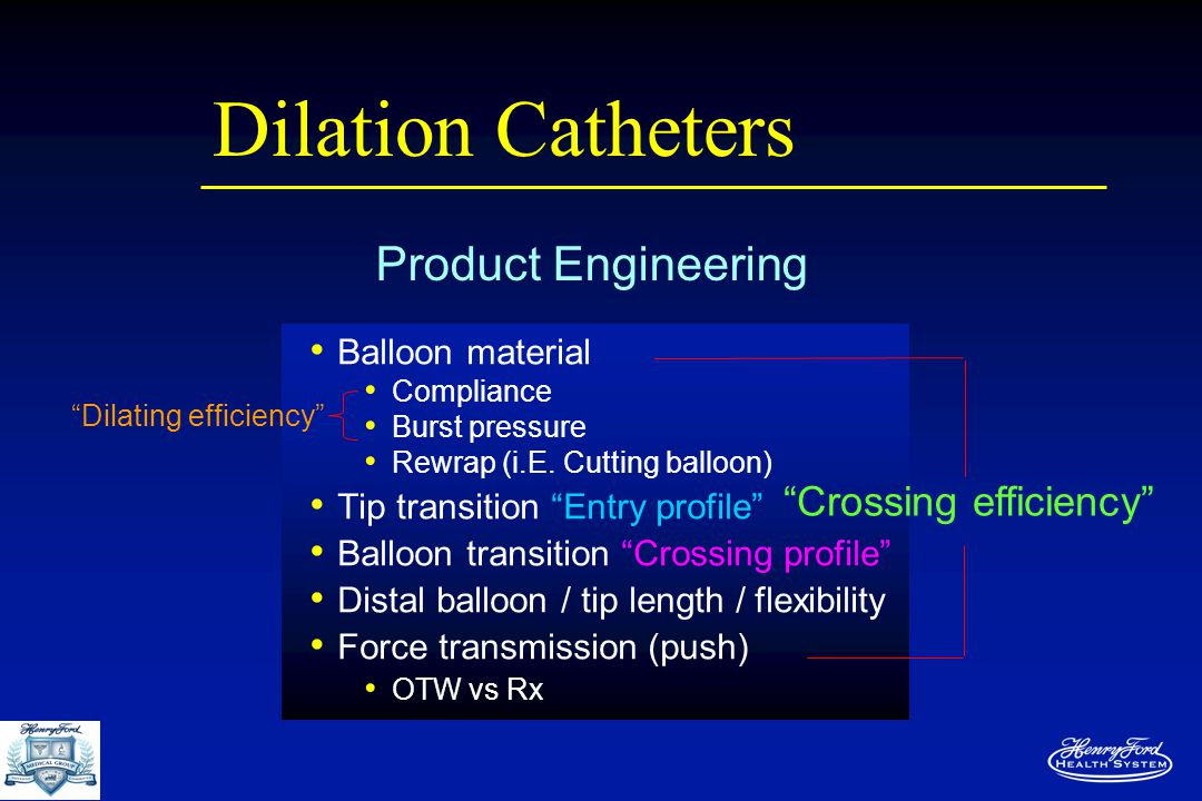 "Dilation Catheters Balloon material Compliance Burst pressure Rewrap (i.E. Cutting balloon) Tip transition ""Entry profile"" Balloon transition ""Crossin"