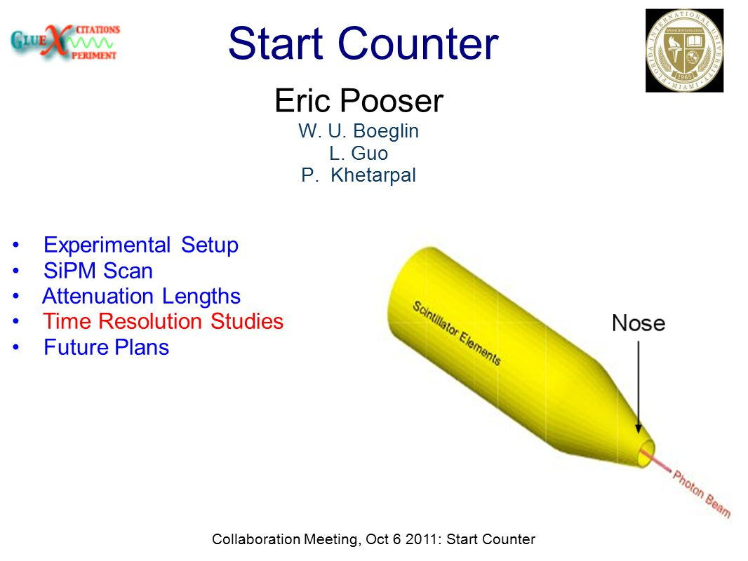 Collaboration Meeting, Oct 6 2011: Start Counter Start Counter Eric Pooser W.