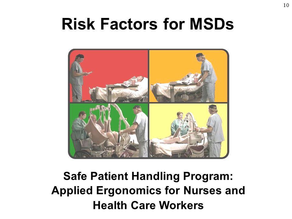 10 Risk Factors for MSDs Safe Patient Handling Program: Applied Ergonomics for Nurses and Health Care Workers