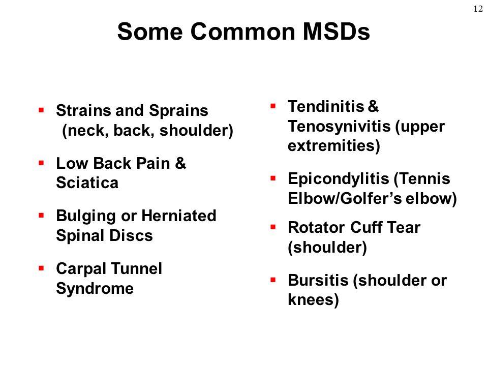 12 Some Common MSDs  Tendinitis & Tenosynivitis (upper extremities)  Epicondylitis (Tennis Elbow/Golfer's elbow)  Rotator Cuff Tear (shoulder)  Bu