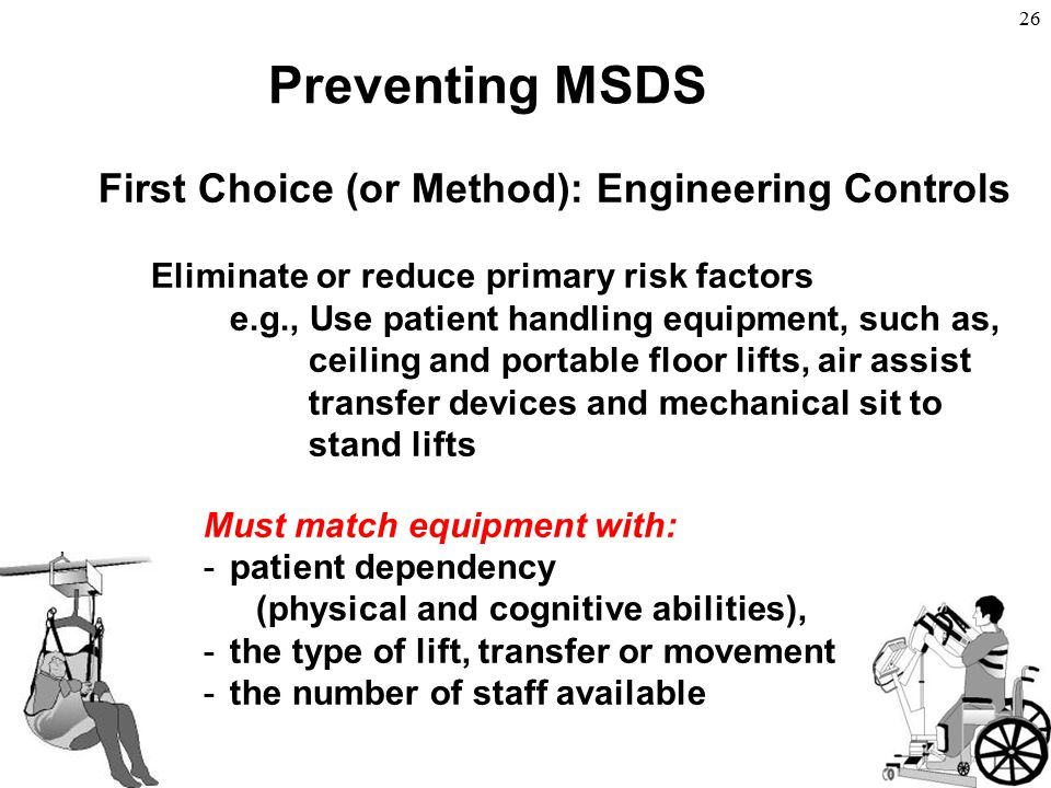 26 First Choice (or Method): Engineering Controls Eliminate or reduce primary risk factors e.g., Use patient handling equipment, such as, ceiling and