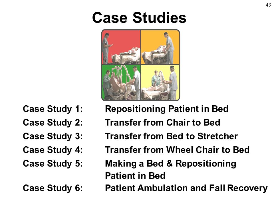 43 Case Studies Case Study 1:Repositioning Patient in Bed Case Study 2:Transfer from Chair to Bed Case Study 3:Transfer from Bed to Stretcher Case Stu