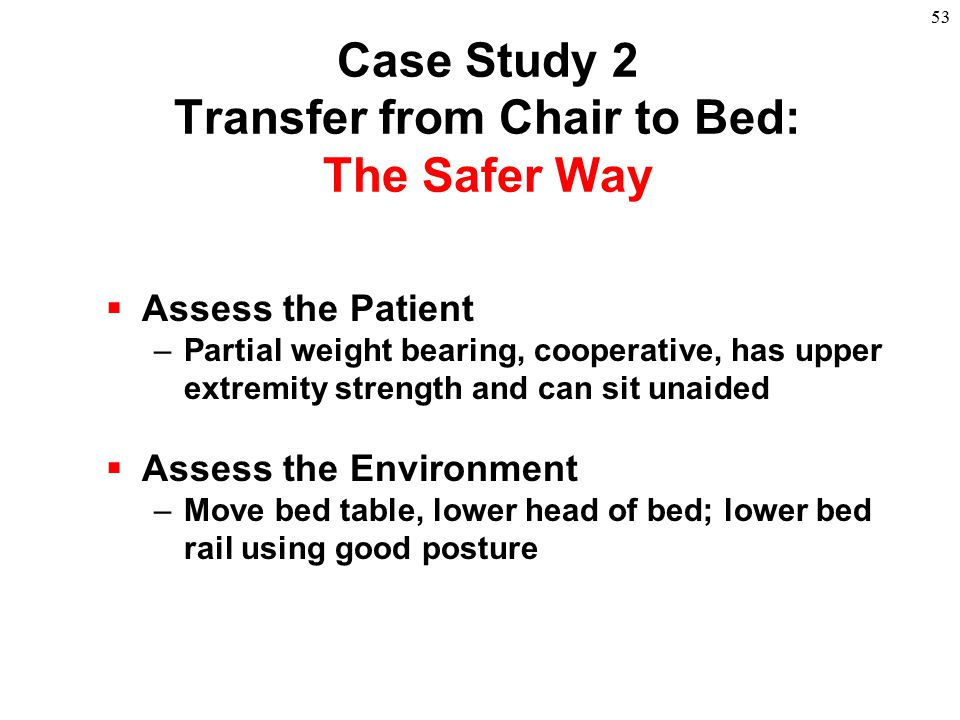 53  Assess the Patient –Partial weight bearing, cooperative, has upper extremity strength and can sit unaided  Assess the Environment –Move bed tabl