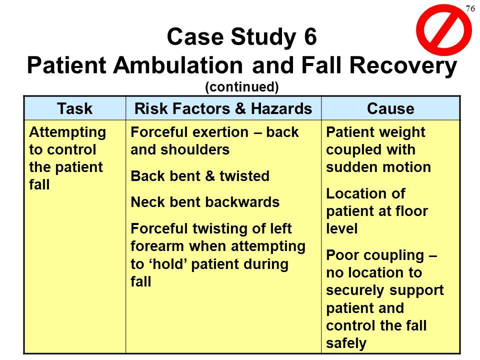 76 TaskRisk Factors & HazardsCause Attempting to control the patient fall Forceful exertion – back and shoulders Back bent & twisted Neck bent backwar