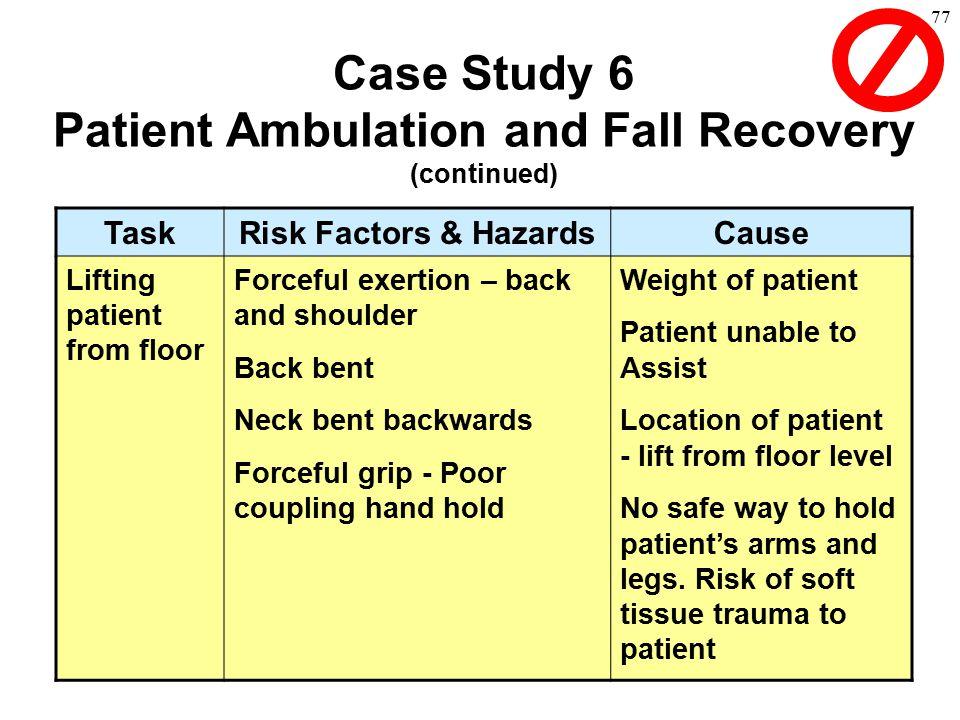 77 TaskRisk Factors & HazardsCause Lifting patient from floor Forceful exertion – back and shoulder Back bent Neck bent backwards Forceful grip - Poor