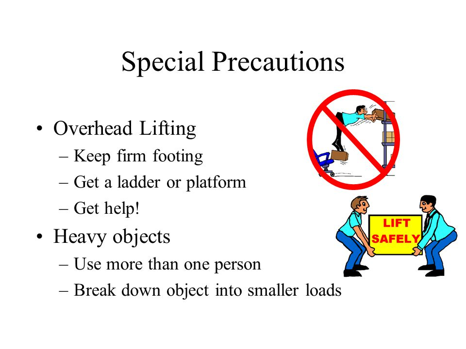 Special Precautions Overhead Lifting –Keep firm footing –Get a ladder or platform –Get help.