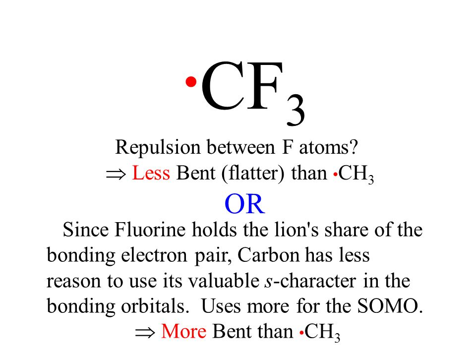 CF 3 Repulsion between F atoms.