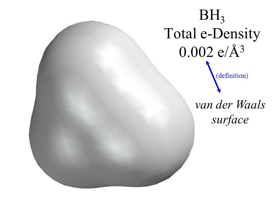 BH 3 Total e-Density 0.002 e/Å 3 van der Waals surface (definition)