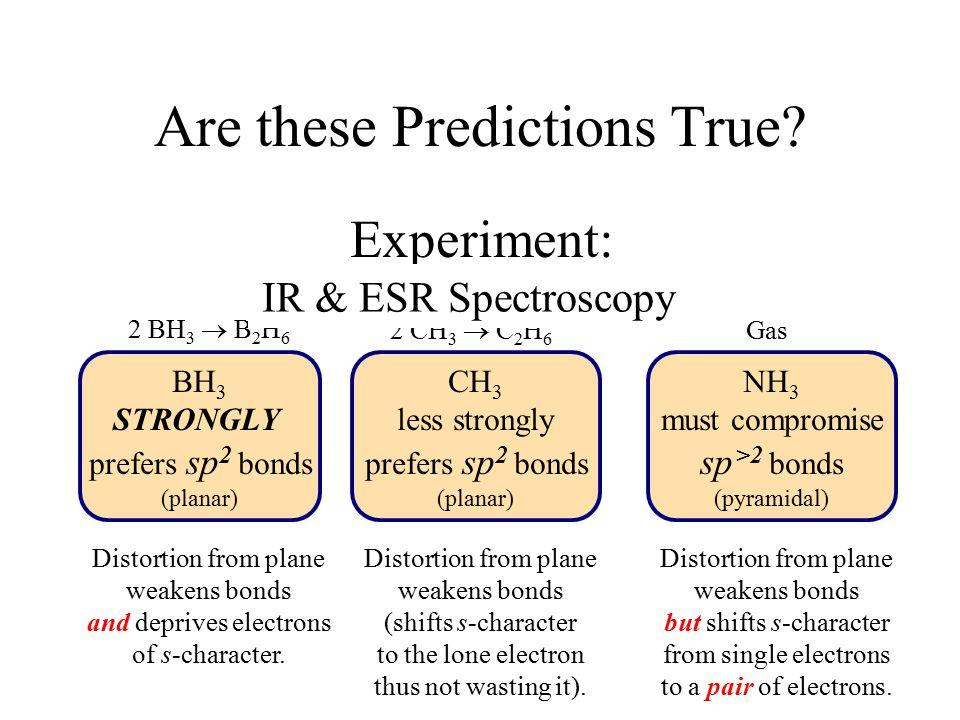 BH 3 STRONGLY prefers sp 2 bonds (planar) CH 3 less strongly prefers sp 2 bonds (planar) NH 3 must compromise sp >2 bonds (pyramidal) Are these Predictions True.