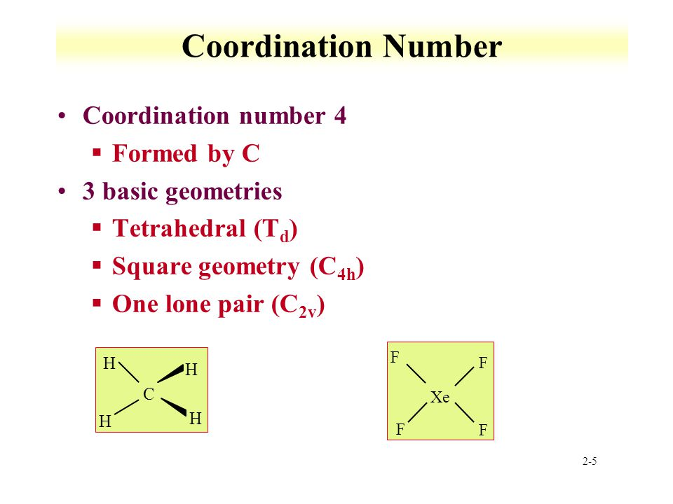2-5 Coordination Number Coordination number 4 §Formed by C 3 basic geometries §Tetrahedral (T d ) §Square geometry (C 4h ) §One lone pair (C 2v ) C H H H H Xe F F F F