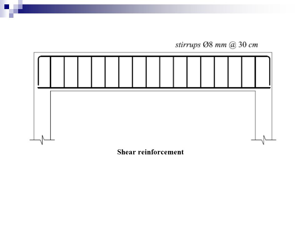 Maximum stirrup spacing: Maximum stirrup spacing is not to exceed the smaller of d/2 = 22.20 cm and 60 cm.