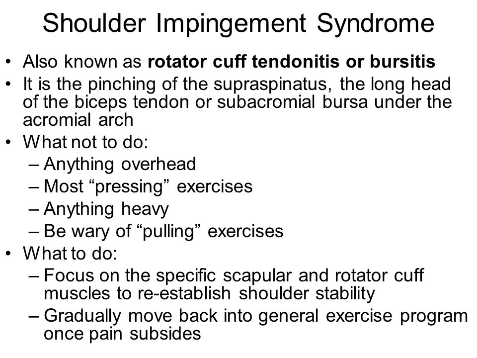 Shoulder Impingement Syndrome Also known as rotator cuff tendonitis or bursitis It is the pinching of the supraspinatus, the long head of the biceps t