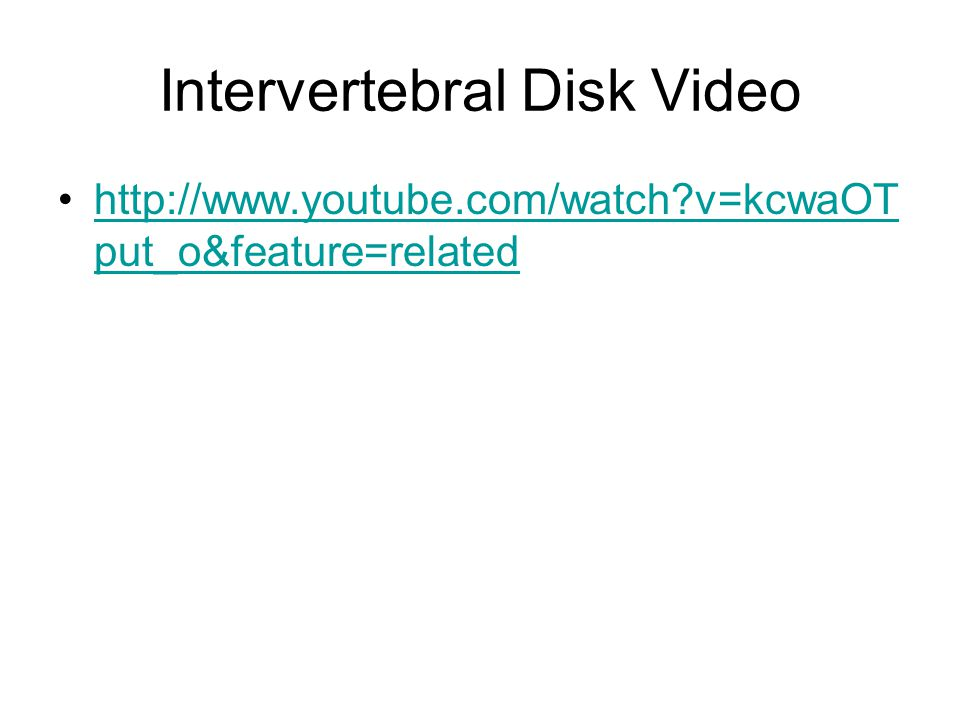 Intervertebral Disk Video http://www.youtube.com/watch?v=kcwaOT put_o&feature=relatedhttp://www.youtube.com/watch?v=kcwaOT put_o&feature=related