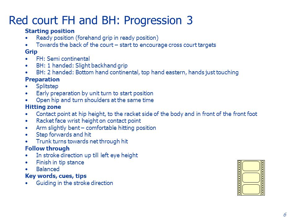 6 Red court FH and BH: Progression 3 Starting position Ready position (forehand grip in ready position) Towards the back of the court – start to encourage cross court targets Grip FH: Semi continental BH: 1 handed: Slight backhand grip BH: 2 handed: Bottom hand continental, top hand eastern, hands just touching Preparation Splitstep Early preparation by unit turn to start position Open hip and turn shoulders at the same time Hitting zone Contact point at hip height, to the racket side of the body and in front of the front foot Racket face wrist height on contact point Arm slightly bent – comfortable hitting position Step forwards and hit Trunk turns towards net through hit Follow through In stroke direction up till left eye height Finish in tip stance Balanced Key words, cues, tips Guiding in the stroke direction