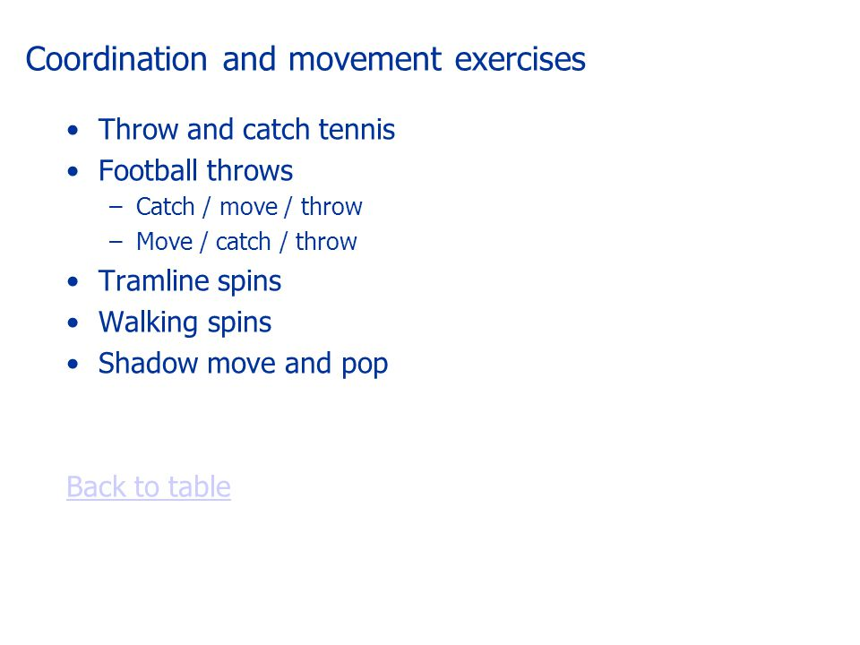 Coordination and movement exercises Throw and catch tennis Football throws –Catch / move / throw –Move / catch / throw Tramline spins Walking spins Shadow move and pop Back to table